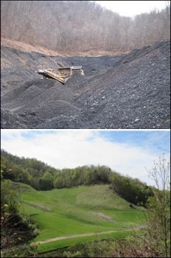 Before and after images of Hurricane Creek gob pile. Image credit: Dominion Virginia Power
