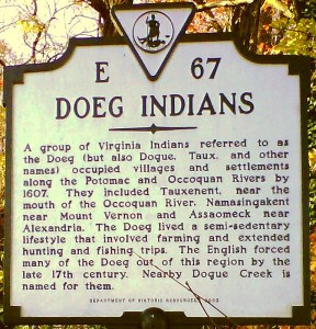 Plaque commemorating the Doeg people