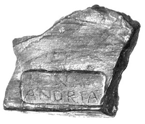 One of the bricks supposedly found at Pevensey