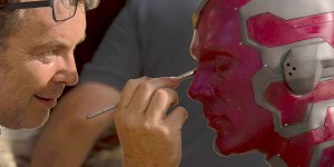 Visione makeup backstage avengers age of ultron