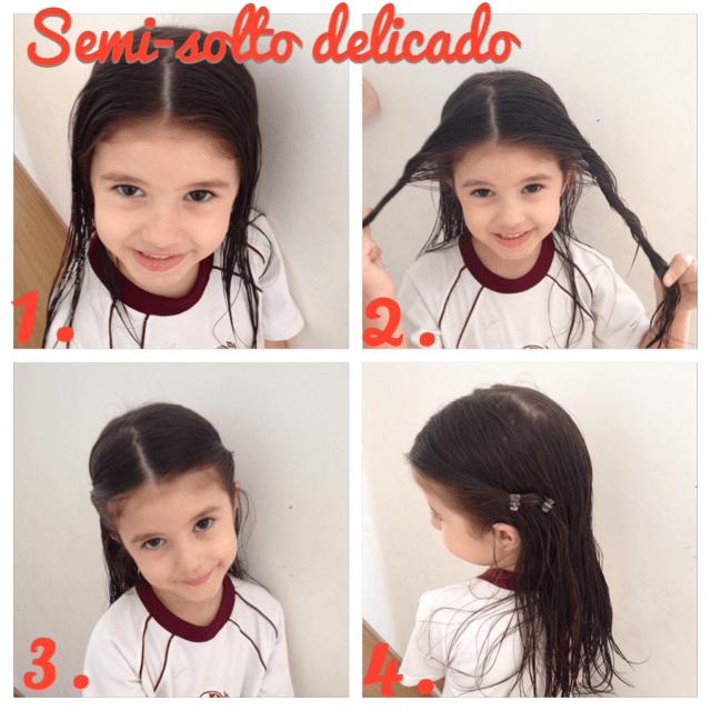 penteados para cabelos cacheados infantil para ir à escola cabelo molhado