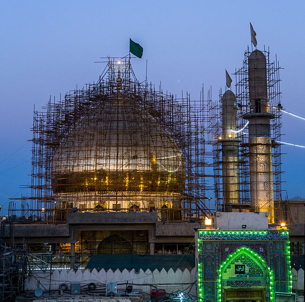 Al-Askari mosque in Samarra Iraq undergoing repairs.