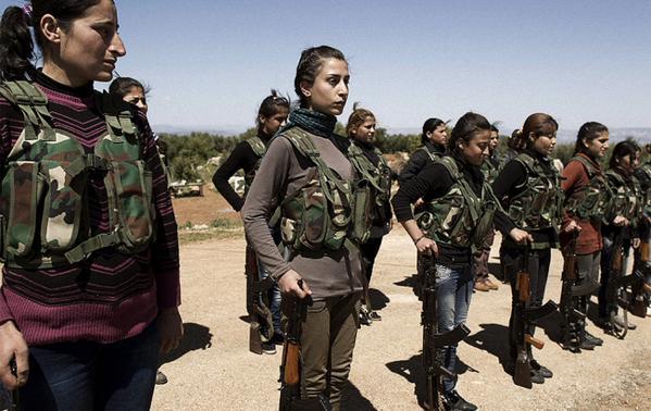 Kurdish YPG fighters in Kobani