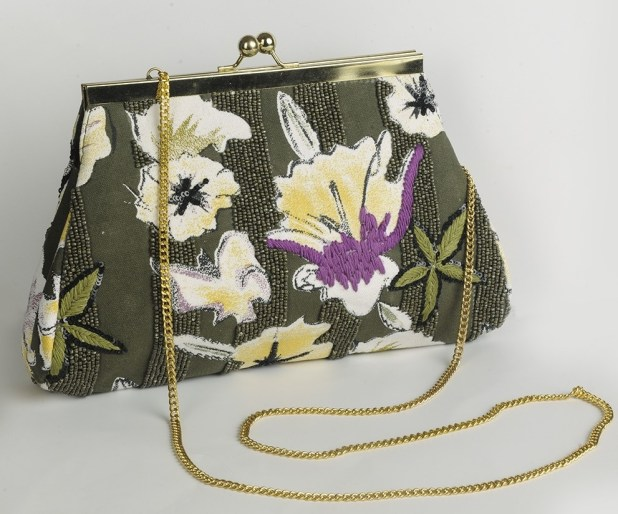 FabIndia Cotton Canvas Floral Clutch