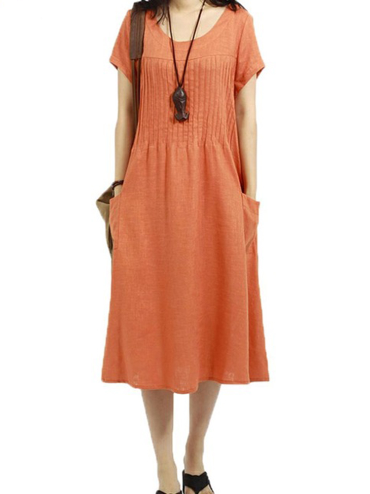 Loose Women Short Sleeve Pleated Cotton Linen Dress