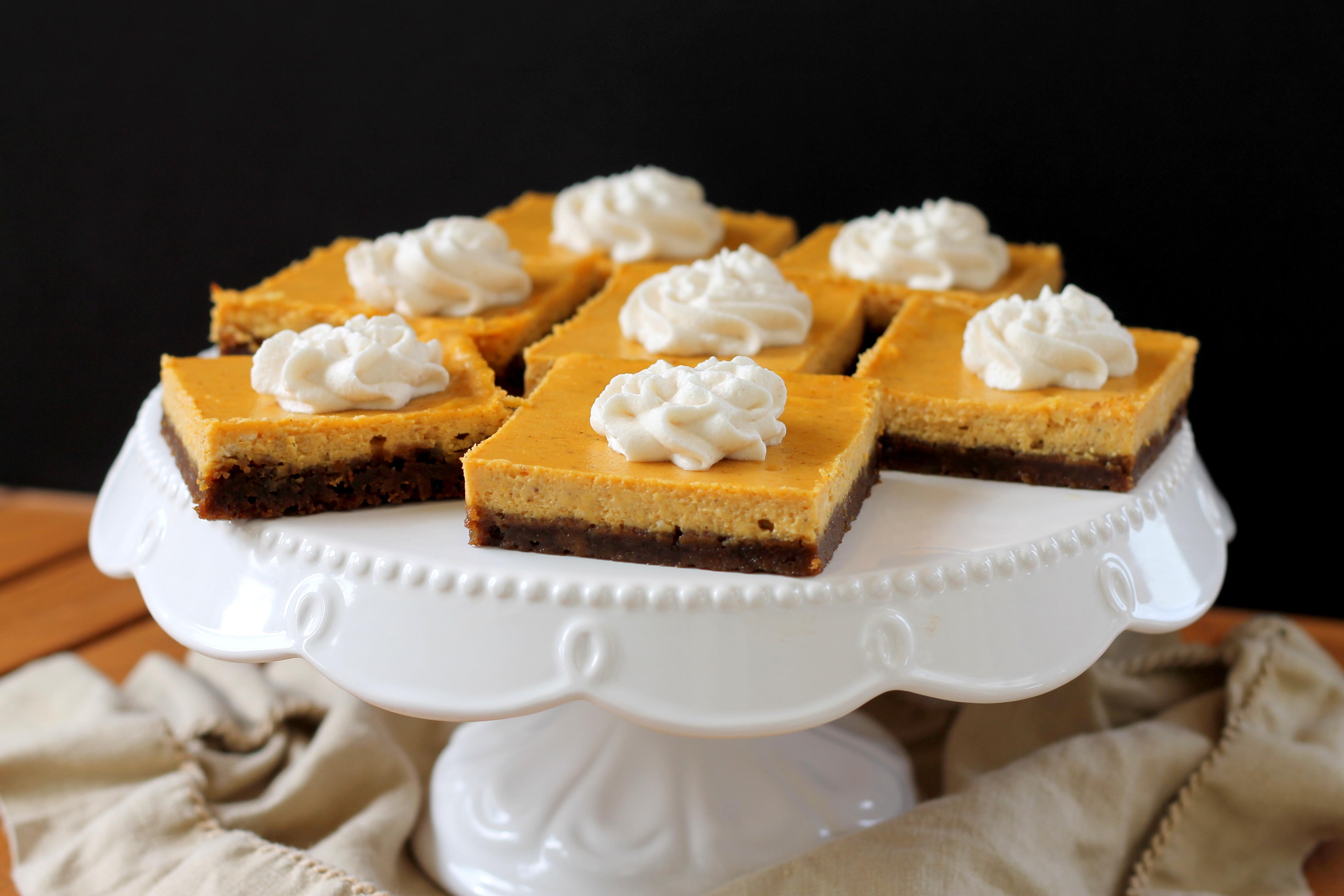 Pumpkin Cheesecake Bars have a crunchy gingersnap cookie crust ...