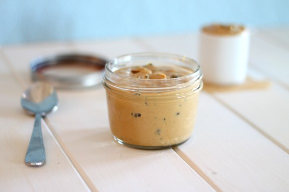 This recipe for homemade White Chocolate Espresso Peanut Butter makes the perfect spread for your toast, or to eat off a spoon when a sugar craving hits!