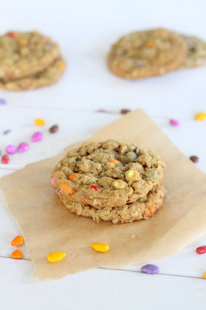 These colorful Sunbutter Oatmeal Cookies are made with sunflower seed butter! They're a great nut-free alternative to peanut butter cookies. Recipe from Bakerita.com