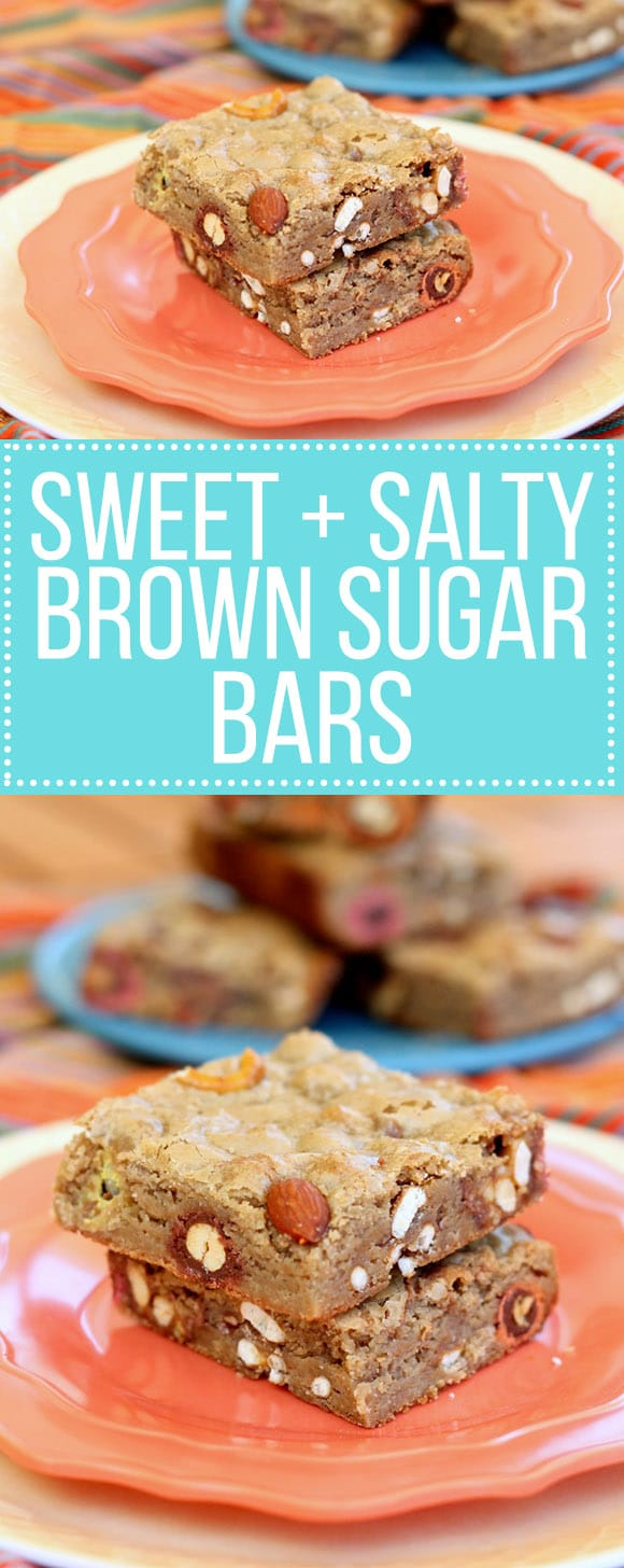 These chewy Sweet & Salty Brown Sugar Bars are full of sweet and salty treats that are perfect for dessert! These are packed with pretzels, almonds, M&Ms, Rolos, and Snickers.