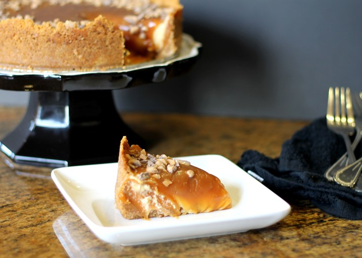 This Toffee Caramel Cheesecake has a smooth and luscious caramel cheesecake filling that's surprisingly easy to make. The cheesecake is topped with a gooey layer of caramel and toffee!