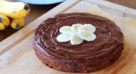 Banana Cake with Chocolate Ganache (Gluten Free + Paleo)