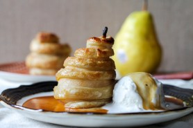 Apple Cider Poached Pears in Cinnamon Sugar Puff Pastry