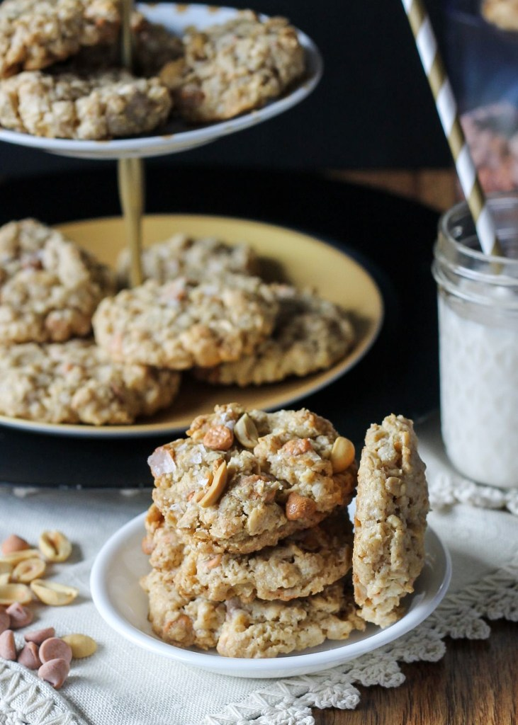 These Salted Peanut Oatmeal Butterscotch Cookies are studded with roasted peanuts, butterscotch chips, and sprinkled with flaky sea salt! These cookies are a must have!! #Recipe from Bakerita.com