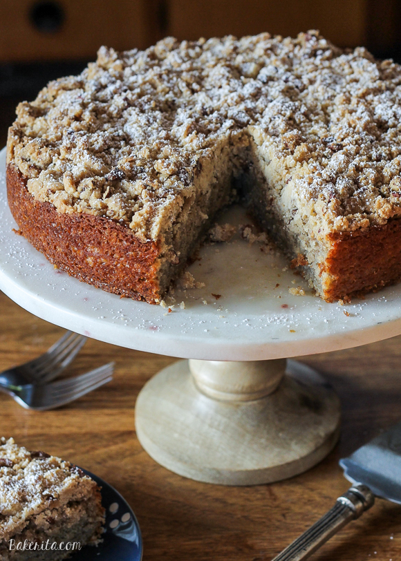 This Banana Crumb Cake is a stepped up version of the best banana bread you've ever had! It's full of banana flavor, and the pecan crumb topping puts it over the top. It's also dairy free.