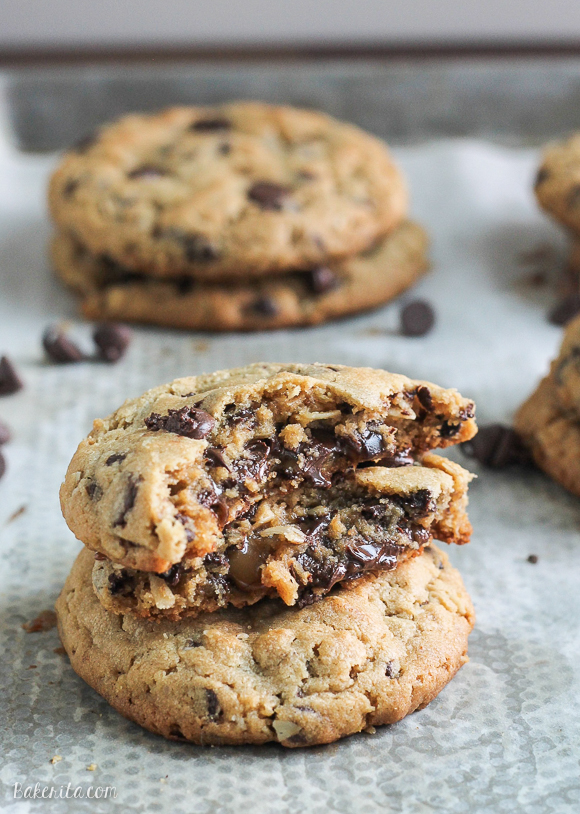 These big Peanut Butter Chocolate Chip Caramel Filled Cookies are soft and chewy peanut butter oatmeal cookies studded with chocolate chips, surrounding a chocolate covered caramel!