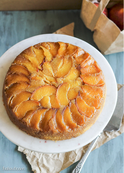 new PEACH CORNMEAL UPSIDE DOWN CAKE