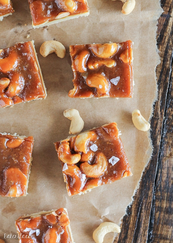 Cashew Caramel Shortbread Bars have a buttery shortbread layer topped with homemade caramel, crunchy cashews, and a sprinkle of flaky sea salt.
