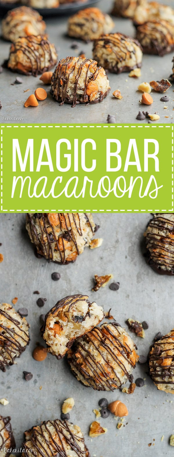 These Magic Bar Macaroons have all of the flavors of one of my favorite cookie bars, Magic Bars, in macaroon form! Chocolate chips, butterscotch, and walnuts make these naturally gluten-free cookies even more delicious.