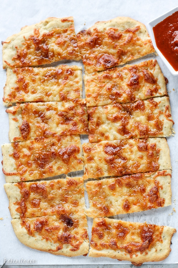 Sweet Sticks were a favorite of my friends and I in college - these bread sticks are topped with melted mozzarella, garlic, and brown sugar for a salty-sweet combo that's surprisingly irresistible!