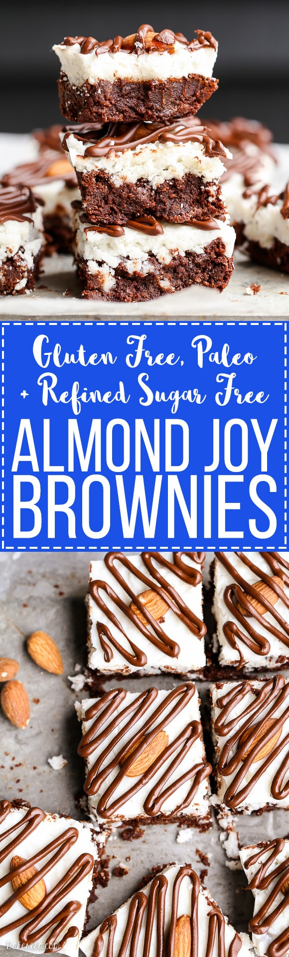 These Almond Joy Brownies have a coconut butter topping and a drizzle ...