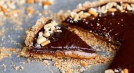 Chocolate Peanut Butter Tart with Pretzel Crust (Gluten Free + Vegan)