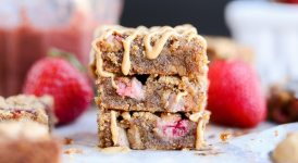 Peanut Butter & Jelly Blondies (Gluten Free + Refined Sugar Free)