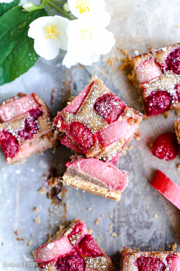 These Raspberry Rhubarb Almond Bars have an crisp almond flour crust ...