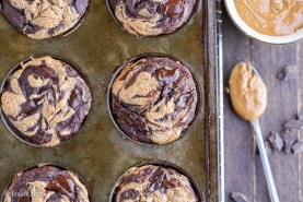 Chocolate Peanut Butter Banana Muffins (Gluten Free + Refined Sugar Free)