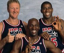 1992 Dream Team members Larry Bird, Micharl Jordan and Magic Johnson