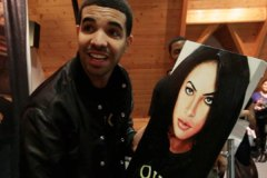 Drake with Aaliyah painting