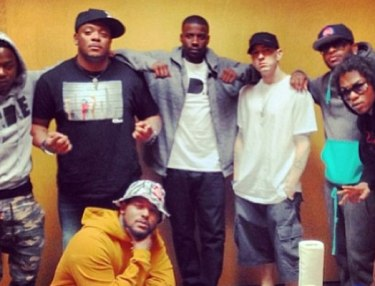 Eminem links with Black Hippy in Detroit.