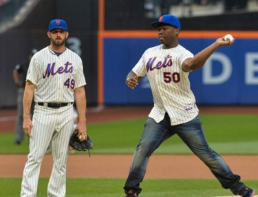 50 Cent Throws Wild First Pitch At NY Mets Game