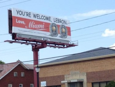 Miami Heat fans put up billboard in Akron to troll LeBron James