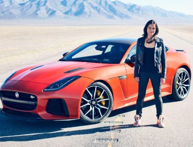Michelle Rodriguez Test Drives the Jaguar F-Type SVR