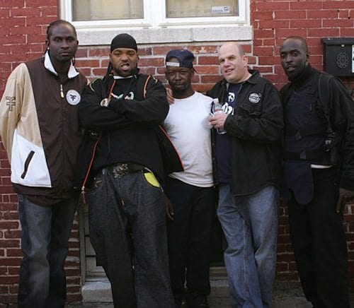 David Simon with cast members from The Wire. Photo courtesy the Marc Steiner Show.