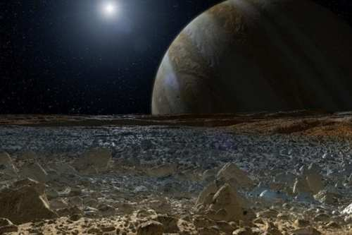 Rendering of Jupiter as seen from Europa via NASA