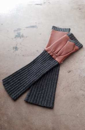 Portolano - Cashmere & Leather Fingerless Gloves $150