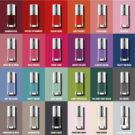 "Body Shop's Colour Crush Nail Polish line has 24 colors and is ""5-free"" formula excluding some nasty chemicals."