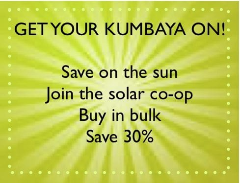 Baltimore Interfaith Solar Co-op gest area solar buyers deep discounts by buying as one group. Now that's kumbaya harmony.