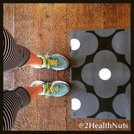2 Health Nuts stretch and strengthen in stripes...and with pretty Orla Kelly mats.