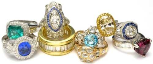Assortment of rings from Georgian to Art Deco to contemporary. - Bijoux Jewels