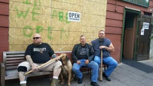 Midtown BBQ crew keeps watch (via Facebook)