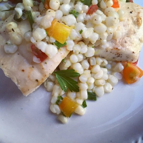 Pan Roasted Halibut with Tomato Corn Salad with French Vinaigrette