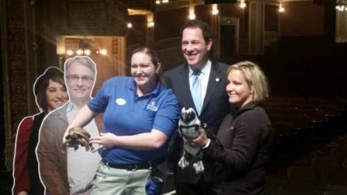 Kevin Kamenetz poses with penguin (Baltimore County photo)