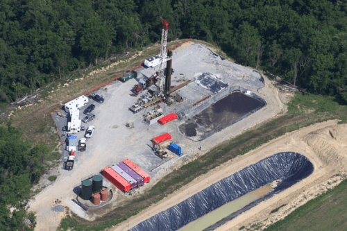 Fracking well pads are six acre plus industrial zones that concentrate many gas wells on one central well pad location.