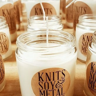 Candle from Knits, Soy and Metal.