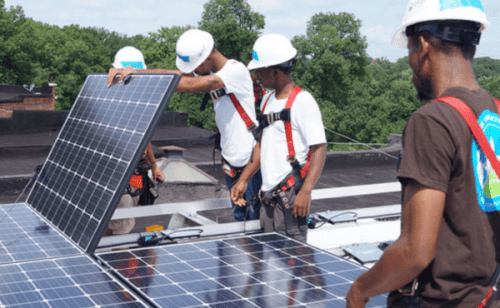 Volunteers installed the solar panels on Fenwick's Baltimore row home. GRID supervisors have trained 368 solar volunteers in the Mid-Atlantic since 2014.