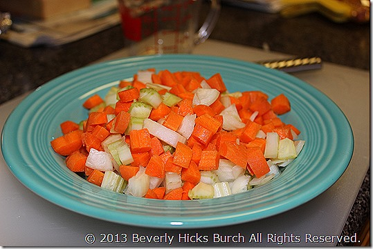 chopped onion, celery and carrots