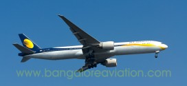 Jet Airways Boeing 777-300ER VT-JEG performing flight 9W117 from London approaches Mumbai airport