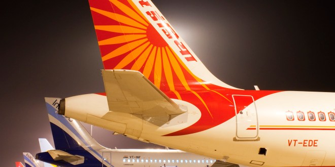 The nightly aircraft line-up tail parade at the apron of Kempegowda International Airport Bangalore